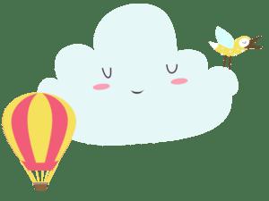 Oblak, ptičica i balon na vrući zrak