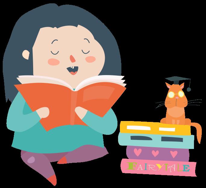 Djevojčica čita priču mački