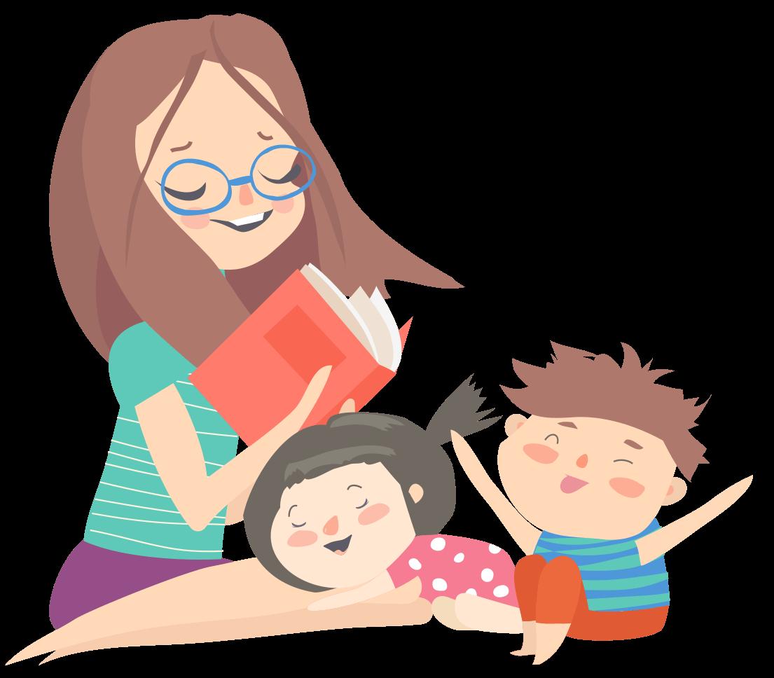 Djevojka čita priče djeci